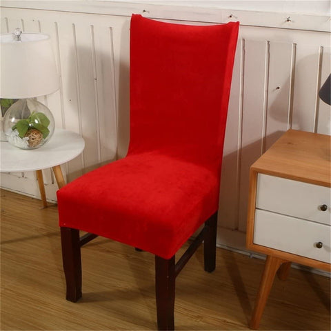 Image of Velvet Spandex Fabric Stretch Dining Room Chair Slipcovers Home Decor