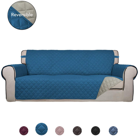 Image of Reversible Sofa Cover Water Resistant Slipcover Furniture Protector Washable Couch Cover