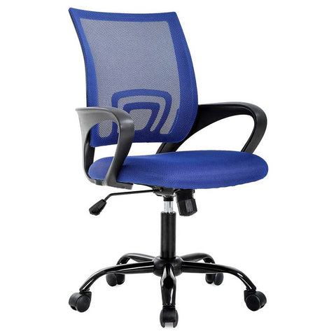 Office Chair Mesh Computer Chair Lumbar Support Adjustable Stool Rolling Swivel Chair
