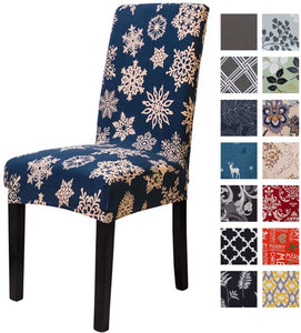 Printed Dining Chair Slipcovers Removable Washable Soft Spandex Stretch Chair Covers