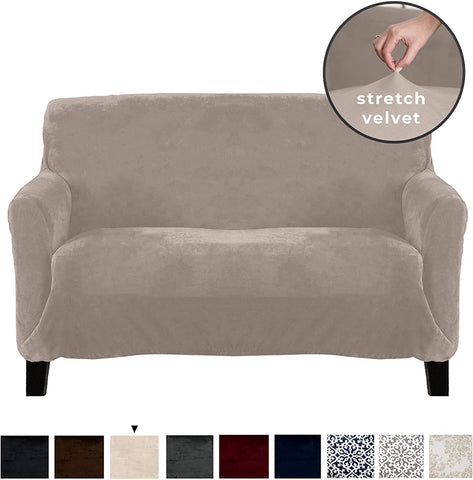 Image of Velvet Plush Stretch Sofa Slipcover Sofa Couch Furniture Protector Soft Anti-Slip