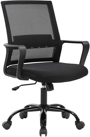 Office Chair Ergonomic Desk Chair Swivel Rolling Computer Chair Adjustable Stool (Black)