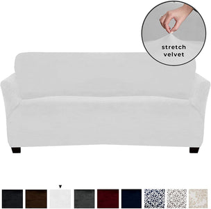 Velvet Plush Stretch Sofa Slipcover Sofa Couch Furniture Protector Soft Anti-Slip