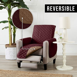 Reversible Recliner Sofa Chair Protector Slipcover With Secure Straps