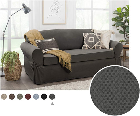 Image of Maytex Pixel Black Chair Slipcover Sofa Cover