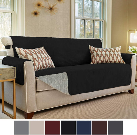 Image of Slip Resistant Large Sofa Protector Suede-Like Furniture Slipcover Cover