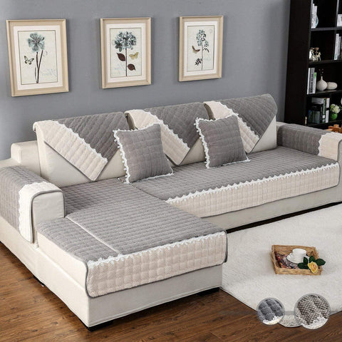 Image of Couch Cover Sofa Cover Quilted Sectional Velvet Sofa Slipcover