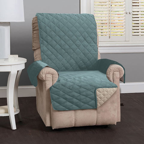 Image of Reversible Recliner Sofa Chair Protector Slipcover With Secure Straps