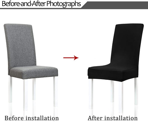 Image of Stretch Spandex Dining Room Chair Covers Removable Washable Seat Slipcovers