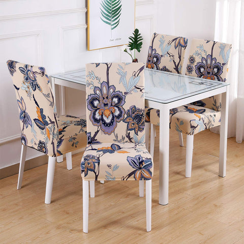 Image of Printed Dining Chair Slipcovers Removable Washable Soft Spandex Stretch Chair Covers