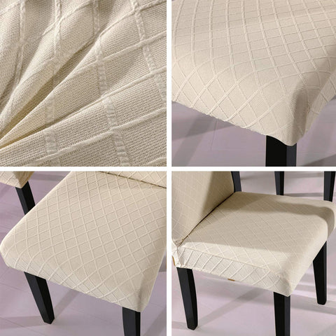 Image of Super Fit Stretch Removable Washable Short Dining Chair Protector Cover Seat Slipcover
