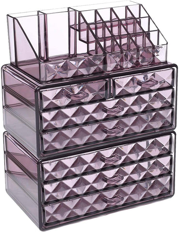 Image of Acrylic Jewelry Makeup Cosmetic Storage Organizer Clear Design For Easy Visibility