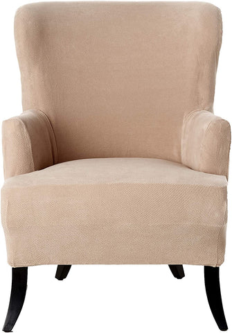 Image of  Sofa Cover Simple Stretch Twill - Wing Chair Slipcover