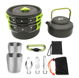 Portable Outdoor Camping Cooking Set Cooking Pots And Pans Outdoor Tablewares