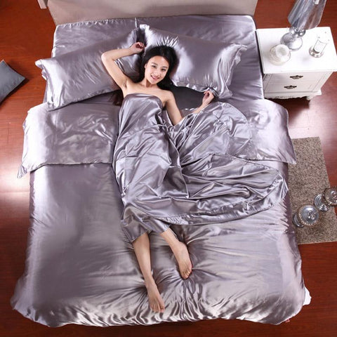 Image of 100% Pure Satin Silk Bedding Set Home Textile King Size Bed Set Bedclothes Duvet Cover