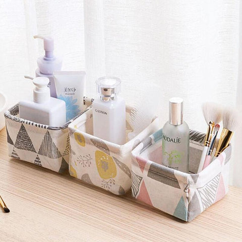 Image of Storage Basket Container Multifunction Cotton Linen Storage Basket Organizer