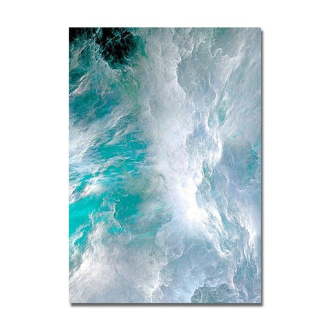 Image of Wall Decor Modern Abstract Canvas Poster Blue Marble Wave Wall Art