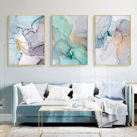 Image of Wall Art Modern Simplicity Blue Marble Abstract Canvas Painting