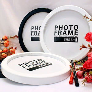 Photo Frame DIY Wood Photo Frames Wall Mounted Hanging Picture Round Frames