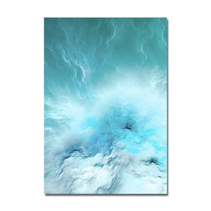 Wall Decor Modern Abstract Canvas Poster Blue Marble Wave Wall Art