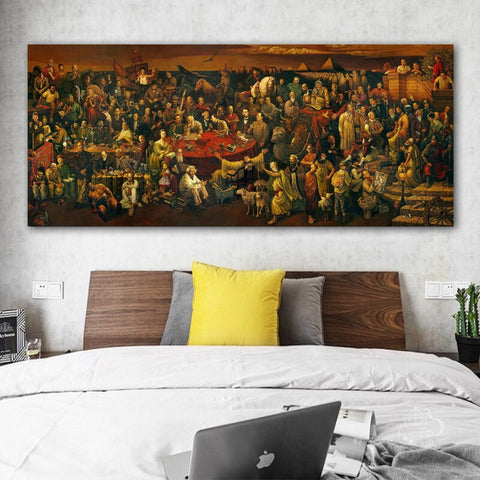 Image of Artwork Canvas Painting Discussing Divine With Dante Wall Art Pictures Print Posters