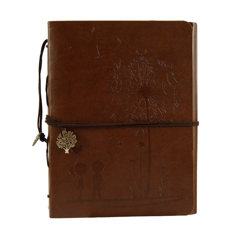 DIY Leather Vintage Handmade Retro Spiral Binding Craft Photo Albums Family Scrapbooking