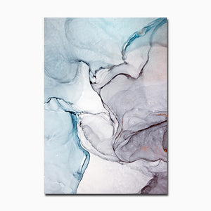 Wall Art Modern Simplicity Blue Marble Abstract Canvas Painting