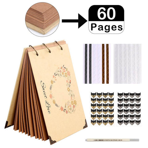 Image of DIY Wedding Photo Album Kraft Paper Guest Book Memory Book Album Scrapbook