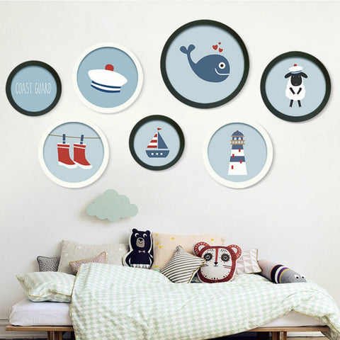 Image of Photo Frame DIY Wood Photo Frames Wall Mounted Hanging Picture Round Frames