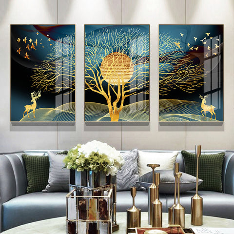 Image of Wall Art Golden Abstract Canvas Painting Home Decor