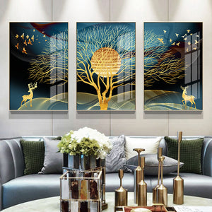 Wall Art Golden Abstract Canvas Painting Home Decor
