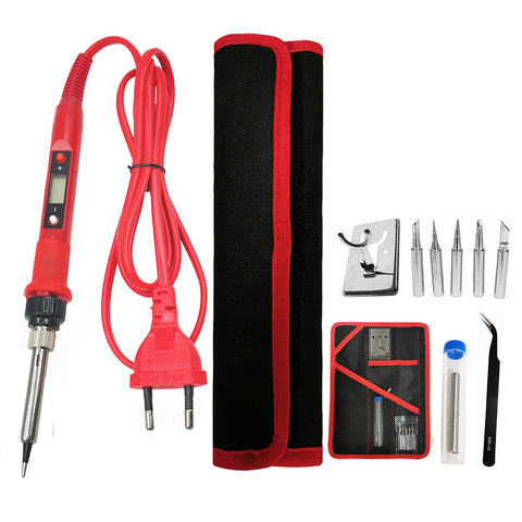 80W Digital Electric Soldering Iron Kit Set Temperature Adjustable 220V 110V