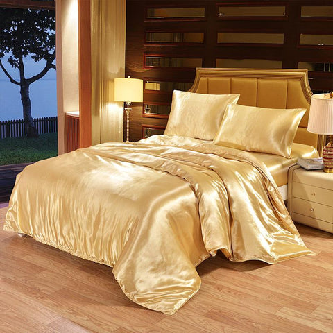 Image of Satin Silk Bedding Set Luxury Bed Set Quilt Duvet Cover Linens And Pillowcase
