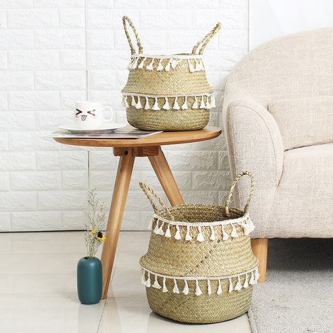 Image of Handmade Bamboo Storage Basket Garden Flower Pot Laundry Container