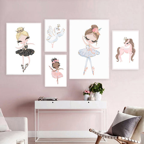 Image of  Wall Picture Ballet Princess Nursery Wall Art Canvas Painting