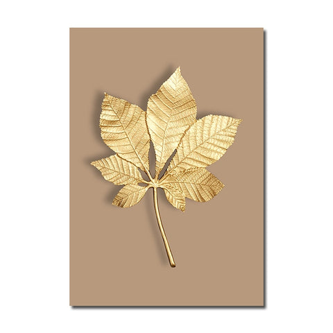 Image of Home Decor Modern Abstract Golden Plant Leaf Wall Art
