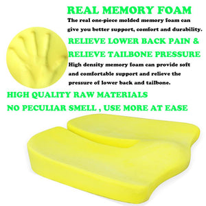 Non-Slip Memory Foam Seat Cushion For Back Pain Coccyx Orthopedic Chair Wheelchair