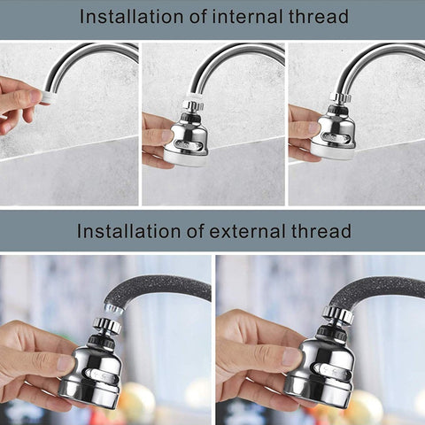 Image of Rotatable Faucet Sprayer Head Anti Splash Tap Booster Shower Water Saving Water-saving Devices