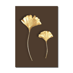 Home Decor Modern Abstract Golden Plant Leaf Wall Art