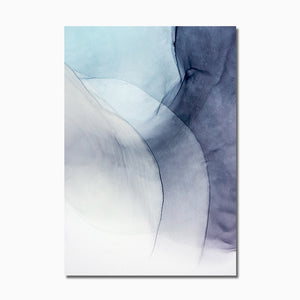 Wall Art Pictures Watercolor Blue Ink Bloom Modern Abstract Canvas Painting