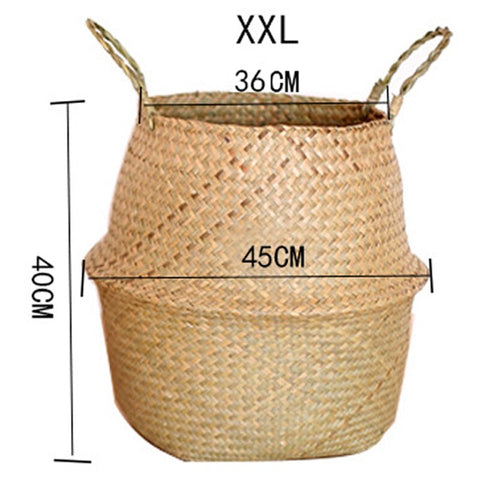 Image of Rattan Folding Basket Laundry Storage Basket Home Organizer Garden Pot