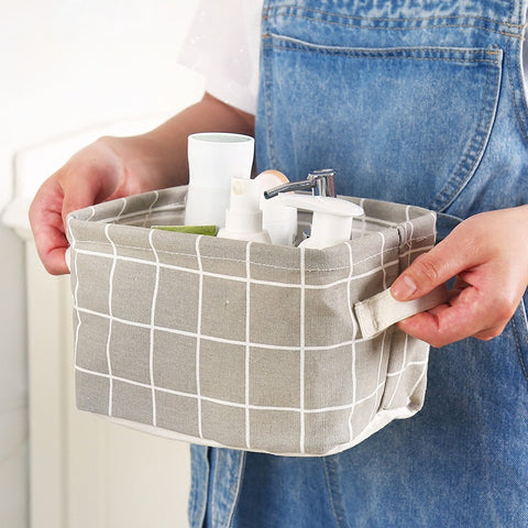 Storage Basket DIY Desktop Organizer Folding Linen Toy Storage Basket