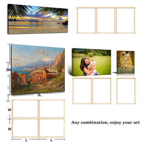 Image of DIY Nature Pine Solid Wooden Frame With Accessories Sturdy Inner Picture Photo Frames