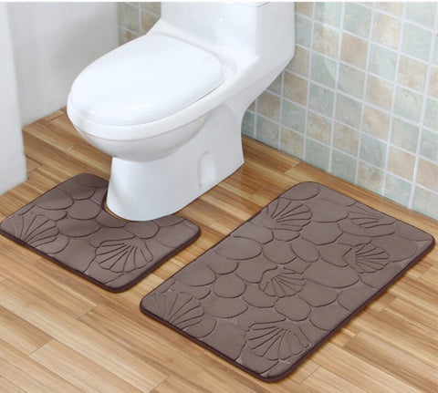 Image of Bathroom Mat Set Carpet Bathroom Floor Non-slip Rugs Toilet Bath Mat