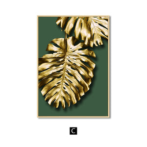 Abstract Golden Leaves Wall Art Canvas Painting Modern Home Decor