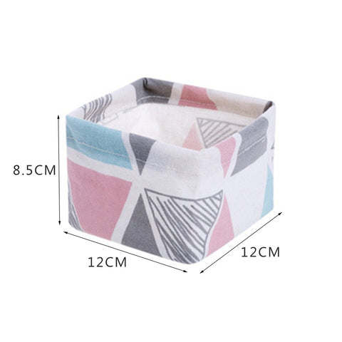 Image of Storage Basket DIY Desktop Organizer Folding Linen Toy Storage Basket
