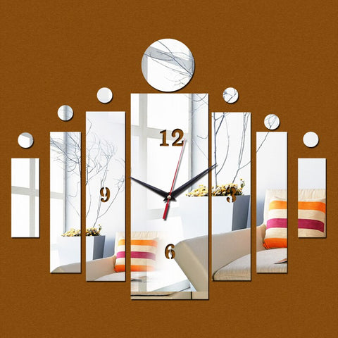 Image of 3d mirror wall art acrylic clock modern design watch home decoration diy crystal vintage clocks kids decal
