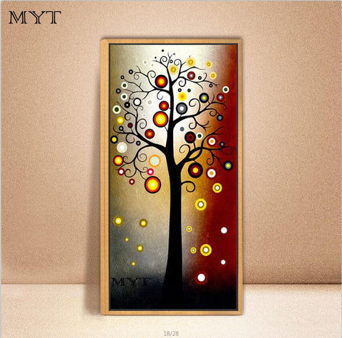 Image of Hand Painted Modern Money Tree Canvas Wall Art Oil Painting Home Decoration Artwork