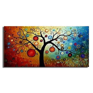 Hand Painted Modern Money Tree Canvas Wall Art Oil Painting Home Decoration Artwork