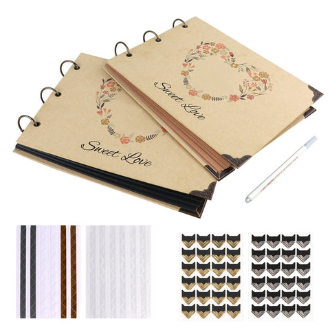 DIY Wedding Photo Album Kraft Paper Guest Book Memory Book Album Scrapbook